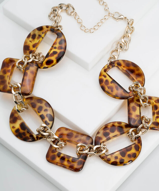 Leopard Print Resin Statement Necklace, Gold/Camel, hi-res