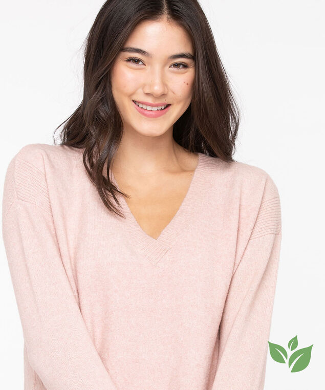 Eco-Friendly V-Neck Sweater, Rose Smoke
