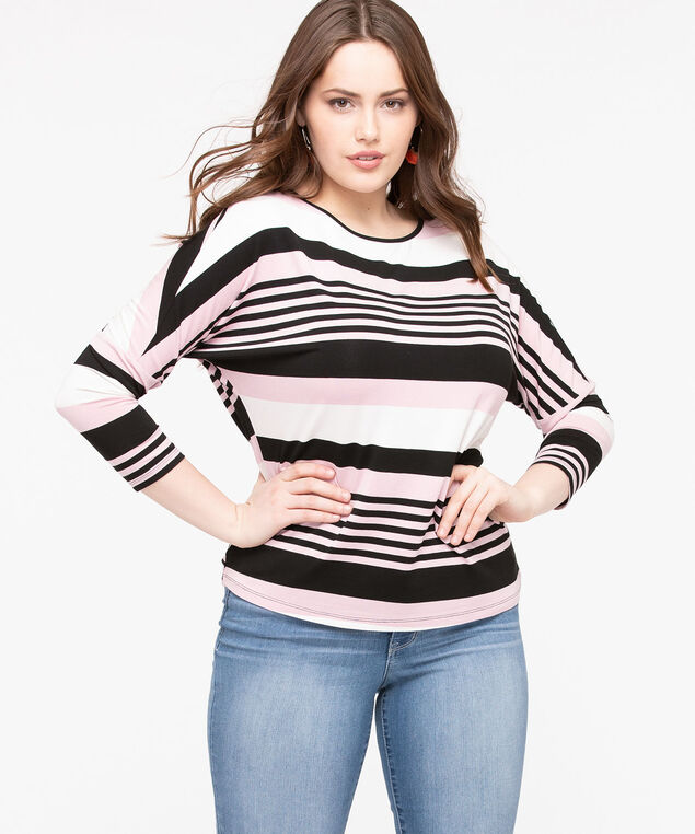 Striped Dolman Sleeve Top, Blush/Black/Pearl, hi-res