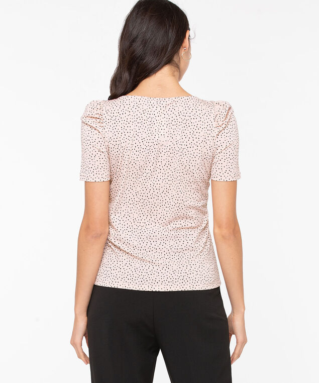 Puff Sleeve Square Neck Top, Soft Blush/Black, hi-res