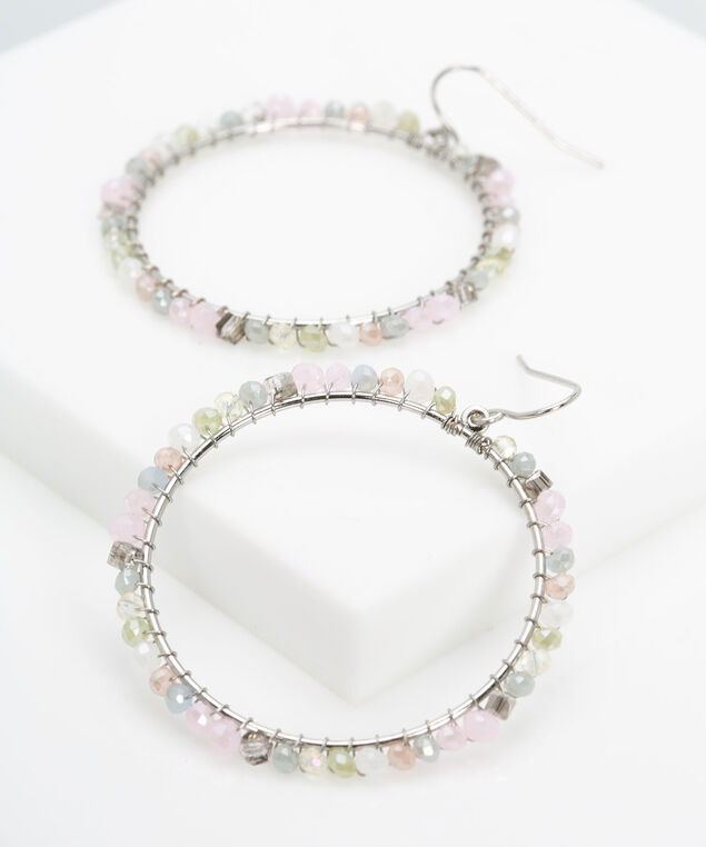 Seed Beed Hoop Earring, Rhodium/Dusty Blush/Blue Fog, hi-res