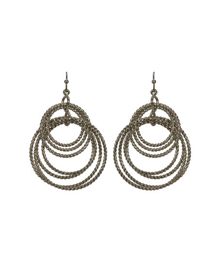 Intertwined O-Ring Earring, Rhodium, hi-res