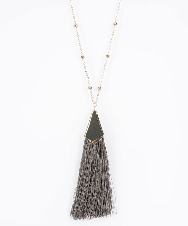 Soft Tassel Pendant Necklace, Mid Heathered Grey/Gold, hi-res