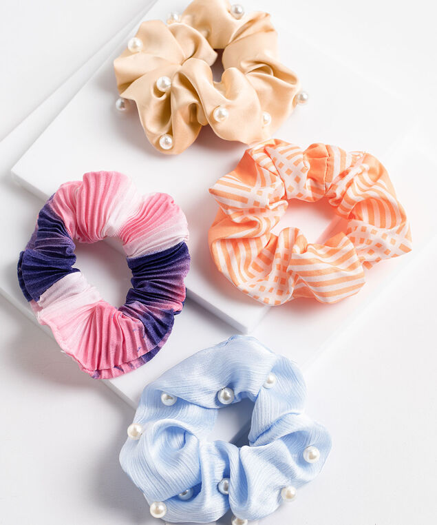 Assorted Scrunchie 4-Pack, Blue Pearl/Sandy Pearl/Pink/Orange Strip