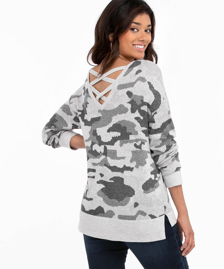 Long Sleeve Patterned Pullover, Heather Grey Camo, hi-res