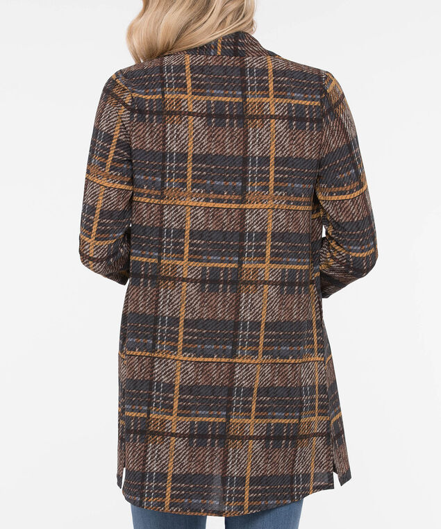 Plaid Collared Lightweight Cover Up, Brown/Navy/Mustard, hi-res
