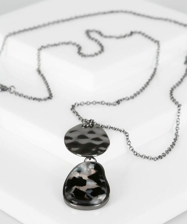 Resin & Hammered Metal Disc Necklace, Hematite/Black, hi-res