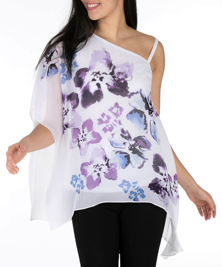 Asymmetrical Cape Overlay Top, White/Purple, hi-res