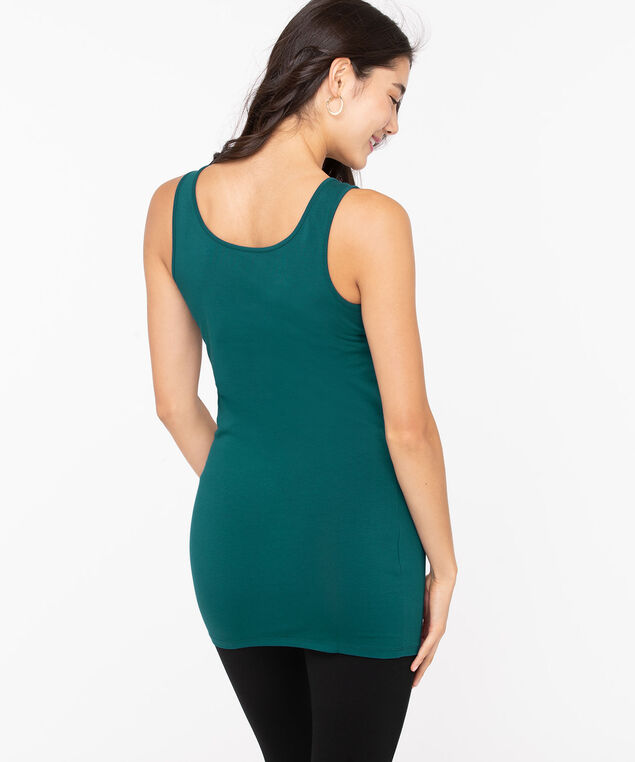 Scoop Neck Tunic Length Cami, Teal, hi-res