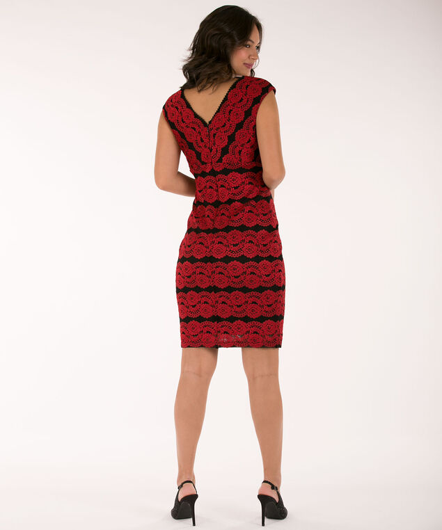 Lace Cross-Over Sheath Dress, Cherry/Black, hi-res