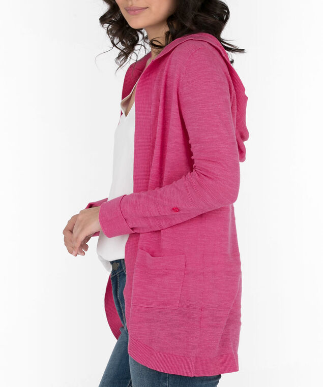 Hooded Roll-Sleeve Cocoon Cardigan, Bright Pink, hi-res
