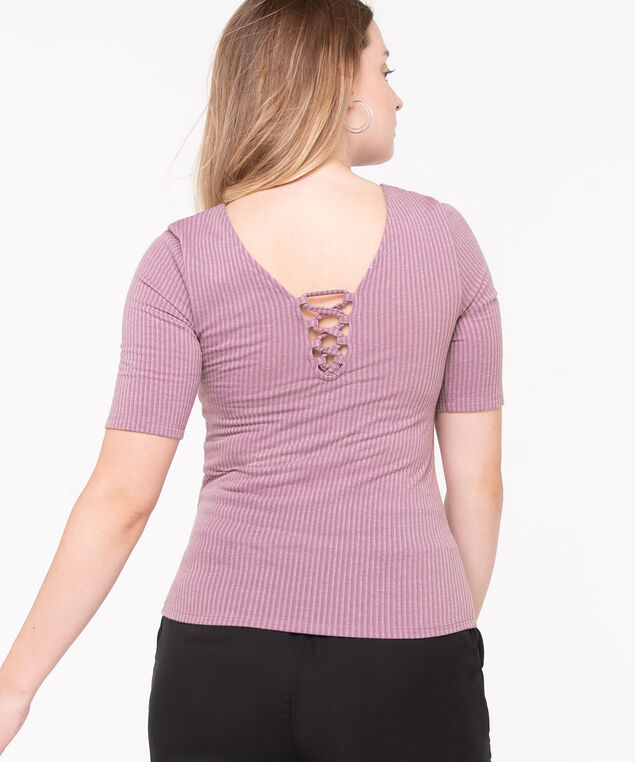 V-Neck Lace Back Top, Lilac, hi-res