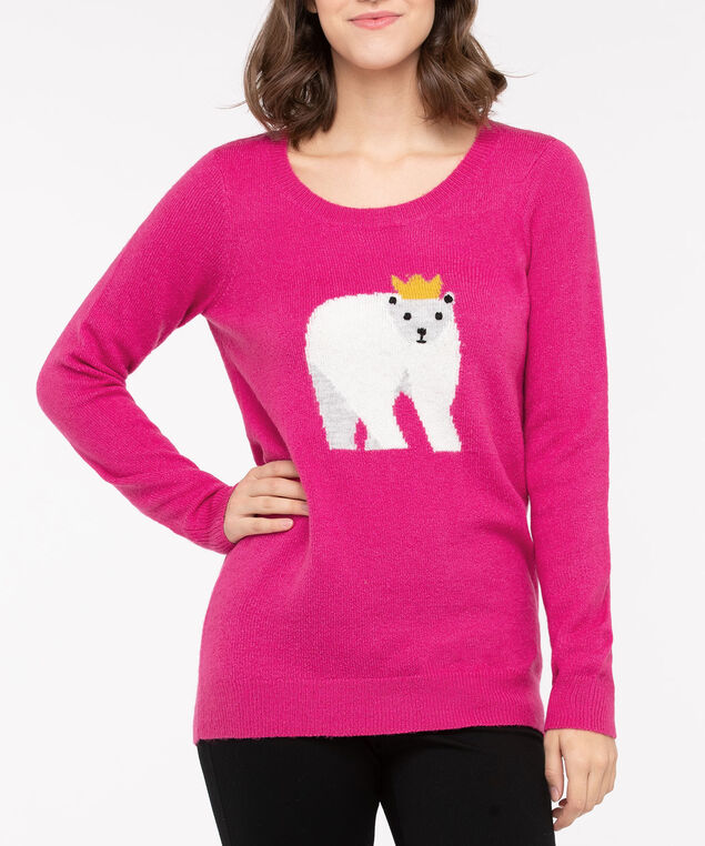Polar Bear Pullover Sweater, Bright Pink/Pearl, hi-res