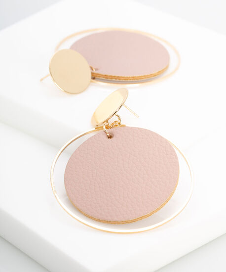 Hoop & Faux Leather Disc Earring, Rose Petal/Gold, hi-res