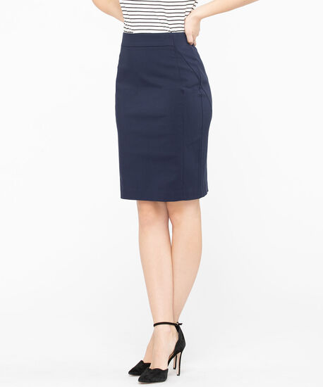 Microtwill Pull on Pencil Skirt , Summer Navy, hi-res