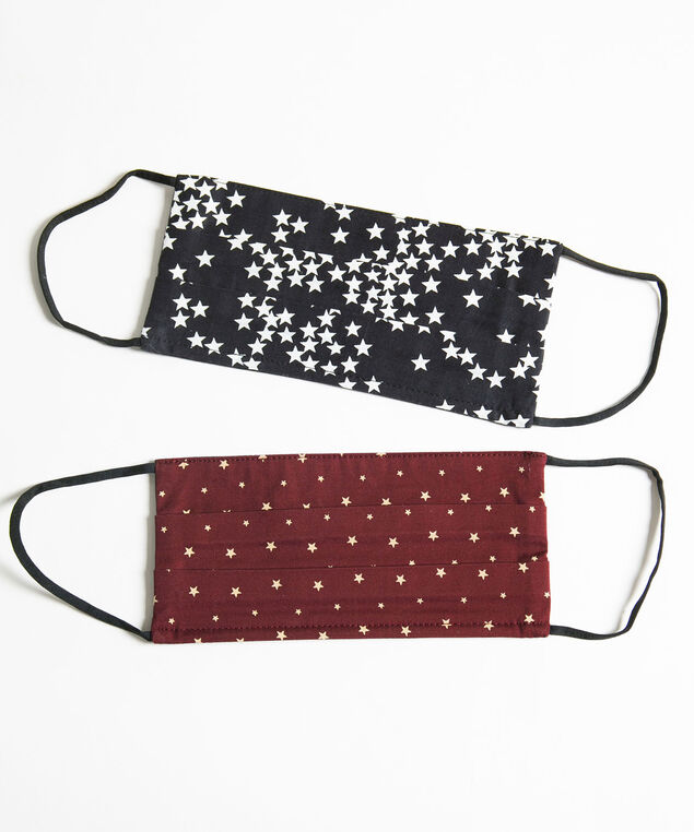 Printed Face Mask 2-Pack, Black/Wine Stars