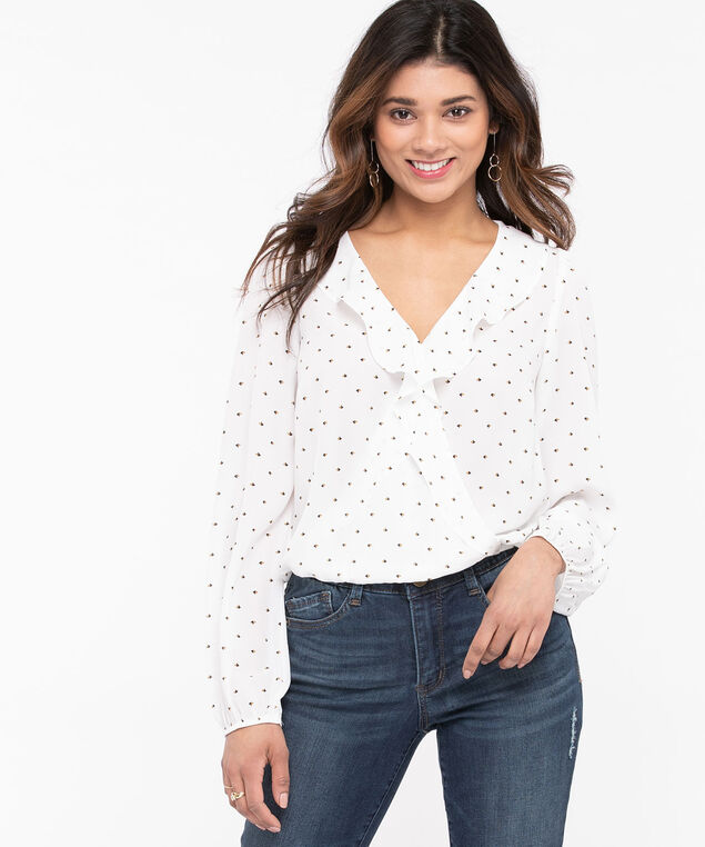 Ruffled Wrap Front Blouse, Pearl/Gold/Black, hi-res