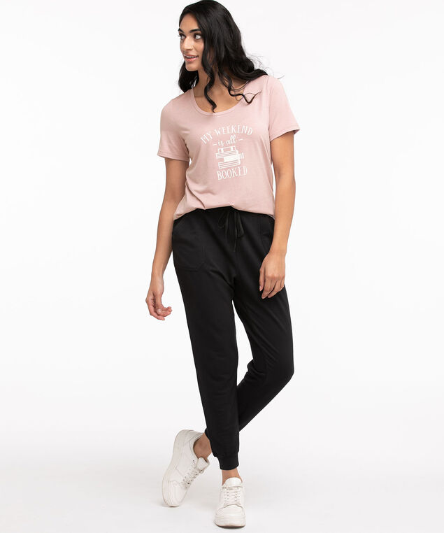 Scoop Neck Shirttail Graphic Tee, Pink/All Booked