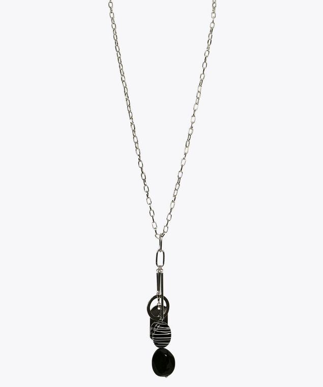 Stone & Metal Pendant Necklace, Black/White/Rhodium, hi-res