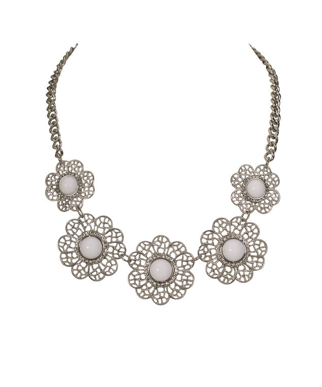Floral Open Metal Statement Necklace, White/Clear/Rhodium, hi-res