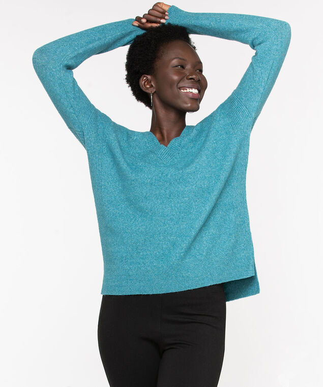 Eco-Friendly V-Neck Sweater, Reef Waters