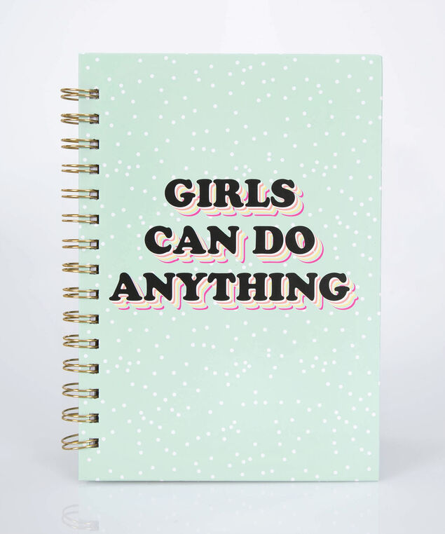 Girls Can Do Anything Spiral Notebook, Rain/Gold, hi-res