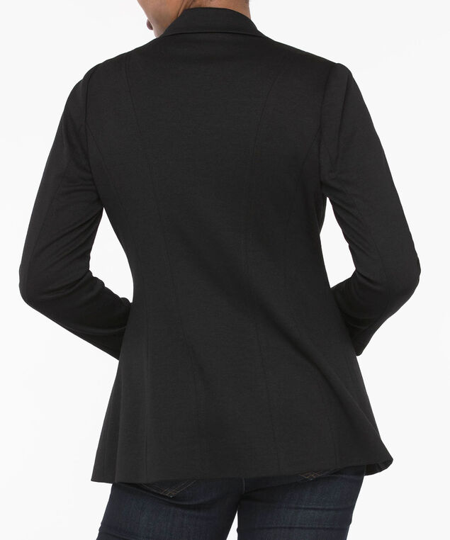 Long Sleeve Knit Boyfriend Blazer, Black, hi-res