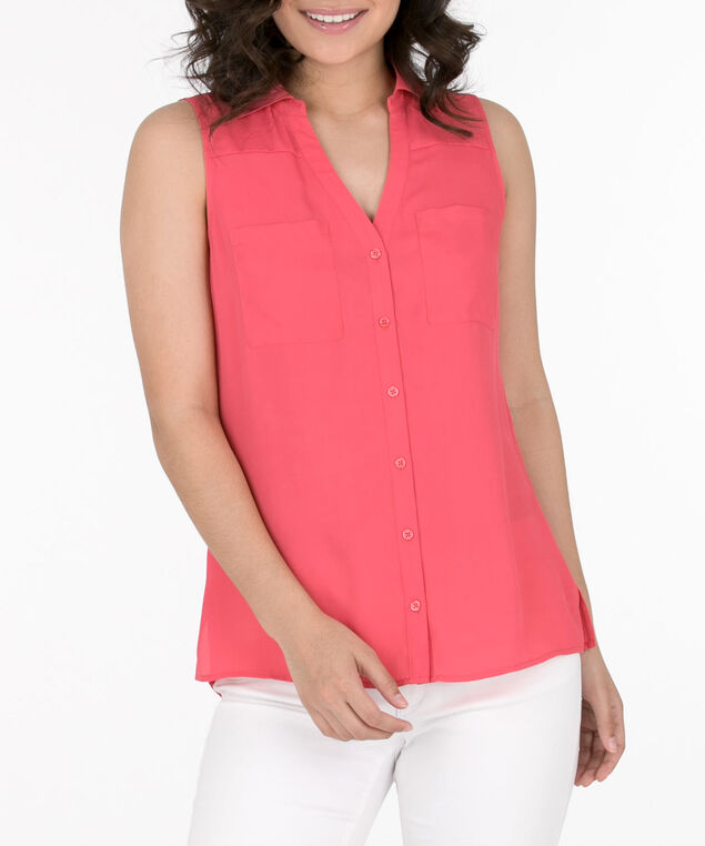 Sleeveless Button-Front Collared Shirt, Watermelon, hi-res