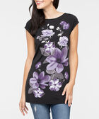 Short Sleeve Floral Print Tunic, Black/Mauve/Grey, hi-res