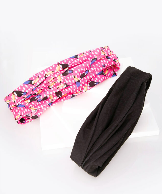 Knotted Headband Set, Black/Bright Pink, hi-res