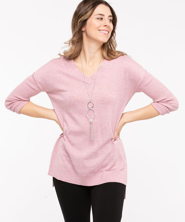 Cross Back Detail Tunic Sweater, Rose Petal, hi-res