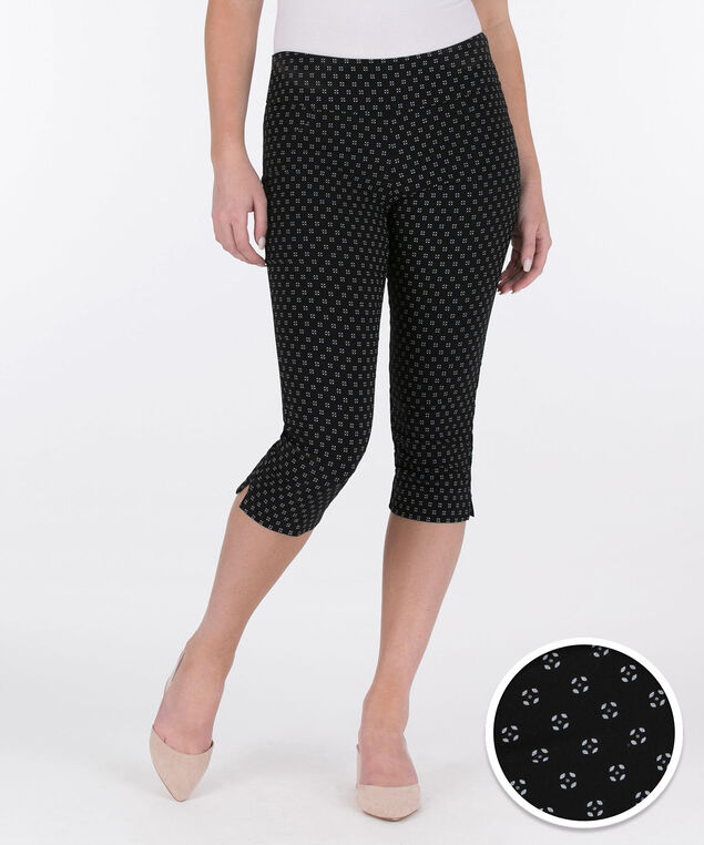 Microtwill Pull-On Capri, Black/White, hi-res