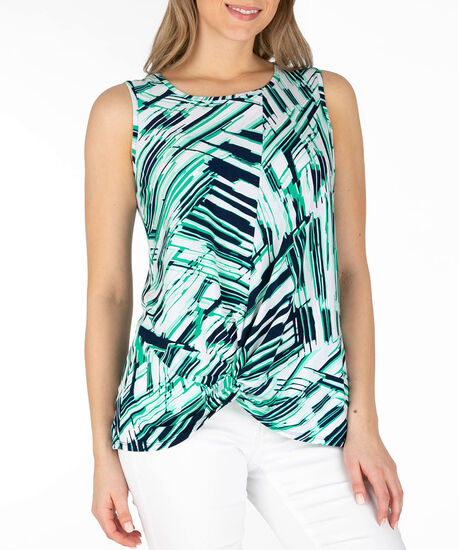 Sleeveless Knot Front Top, Teal/Navy/Milkshake, hi-res