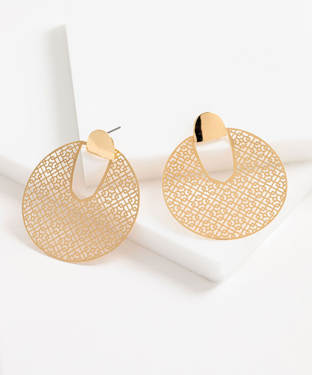 Metal Cutout Circle Statement Earring, Gold