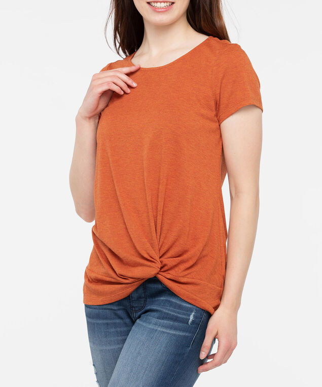 Short Sleeve Knot Front Top, Pumpkin, hi-res