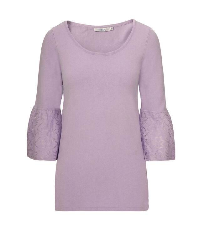 Flounce Sleeve Pullover Sweater, Iced Violet, hi-res