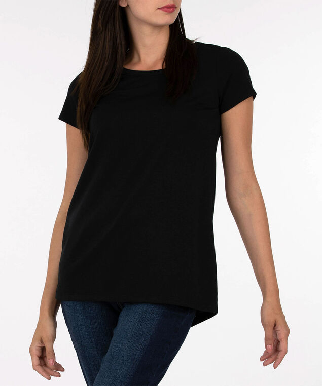Open V-Back French Terry Tunic, Black, hi-res
