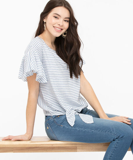 Ruffle Sleeve Tie Front Blouse, Stone Blue/Pearl, hi-res