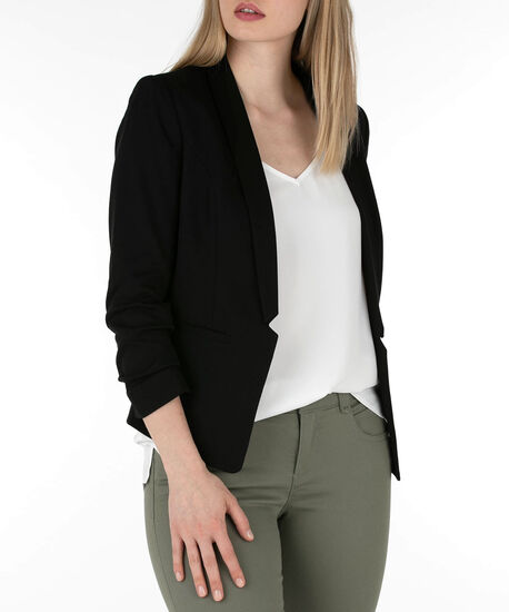 Knit Notch Collar Open Blazer, Black, hi-res