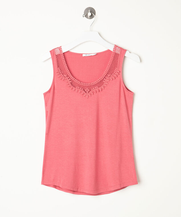 Crochet Applique Tank , Apricot, hi-res