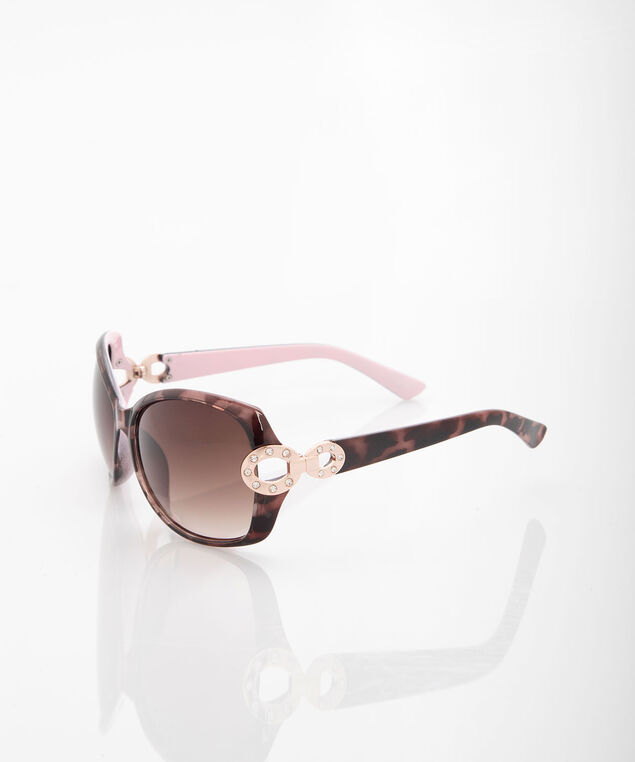 Square Tortoise Shell Pastel Sunglasses, Rose Petal/Brown/Rose Gold, hi-res