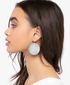 Sanded Metal Disc Earring, Rhodium, hi-res
