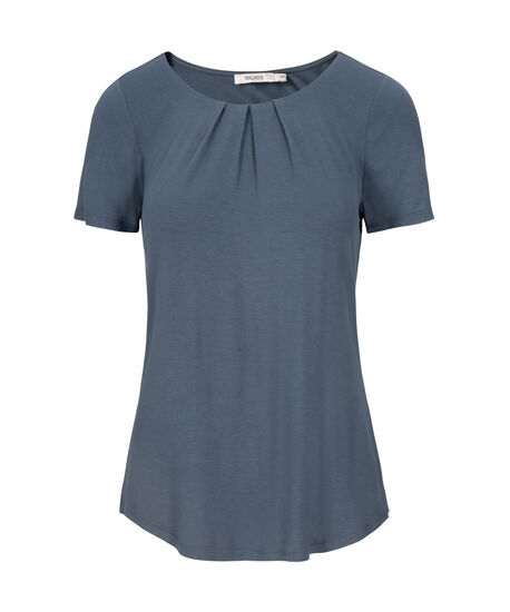 Pleat Neck Short Sleeve Top, Cloudy Blue, hi-res