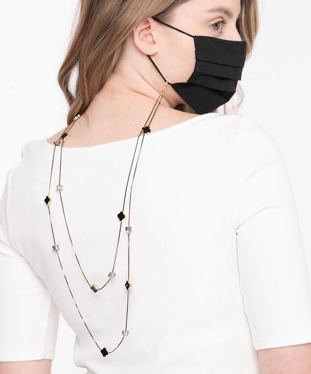 Black & Gold Stationed Mask Chain, Black/Gold