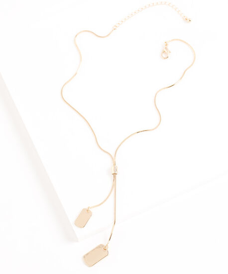 Dog Tag Chain Necklace, Gold, hi-res