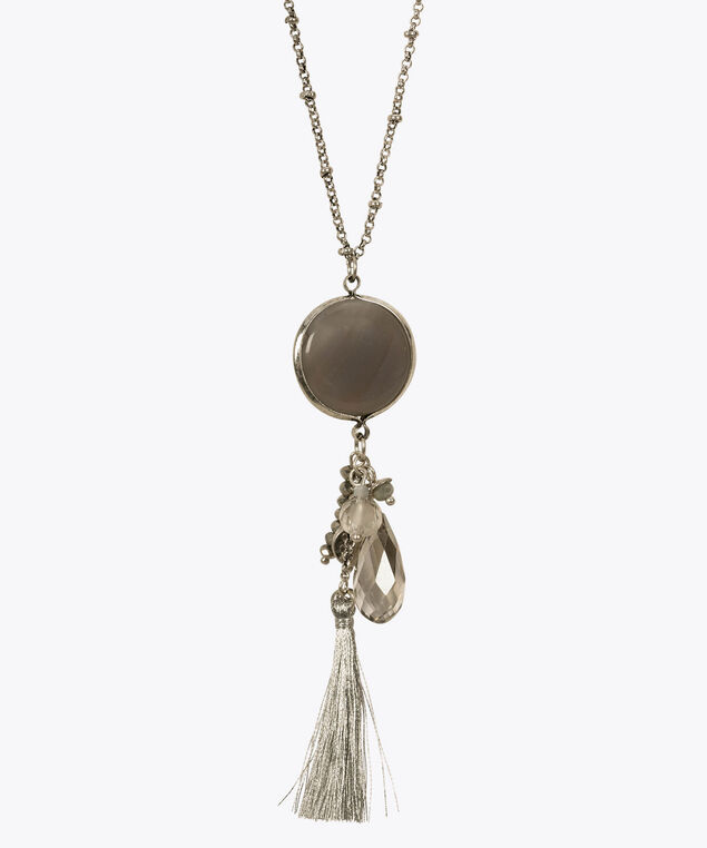 Bead & Tassel Cluster Pendant Necklace, Grey/Rhodium, hi-res