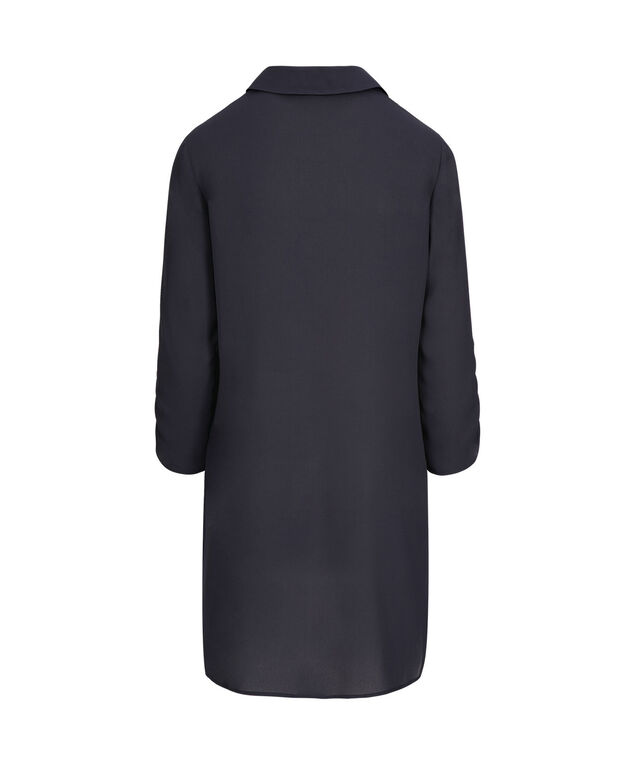 Ruched Sleeve Collared Tunic, Ink Blue, hi-res