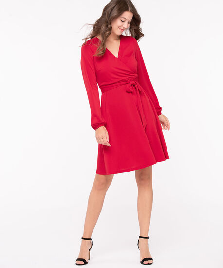 Long Sleeve Faux Wrap Dress, Hibiscus, hi-res
