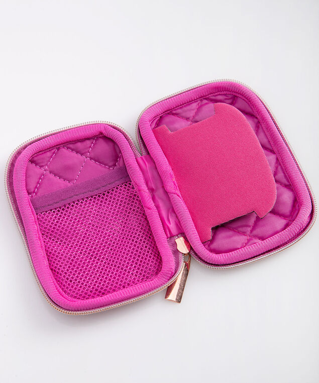 Quilted Ear Bud Case, Bright Pink/Rose Gold, hi-res