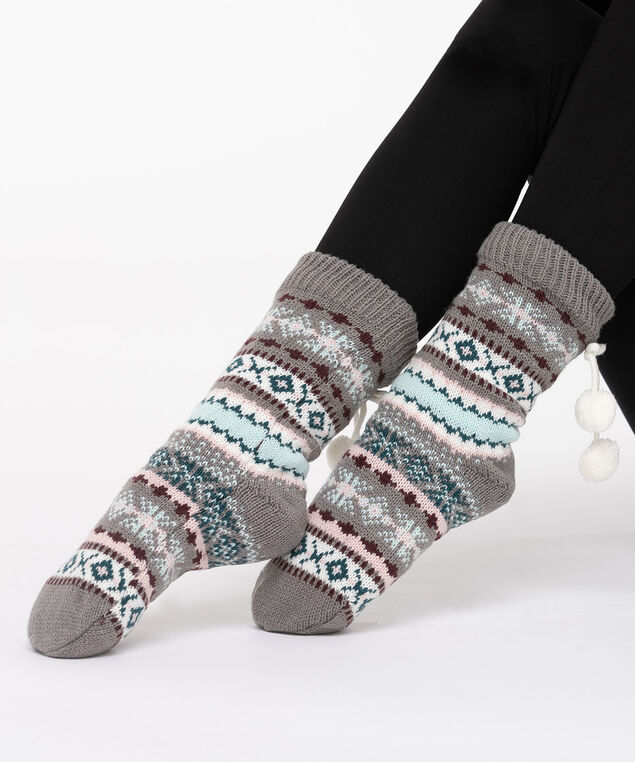Fairisle Chunky Knit Reading Socks, Grey/Pearl/Sea Foam, hi-res